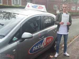 Kyle from Ashmore Park after passing his driving test with Pass4fun